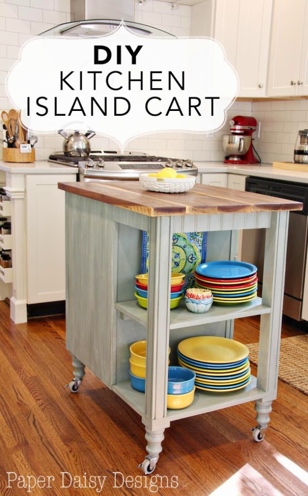 DIY Kitchen Makeover Ideas - DIY Kitchen Island Cart - Cheap Projects Projects You Can Make On A Budget - Cabinets, Counter Tops, Paint Tutorials, Islands and Faux Granite. Tutorials and Step by Step Instructions