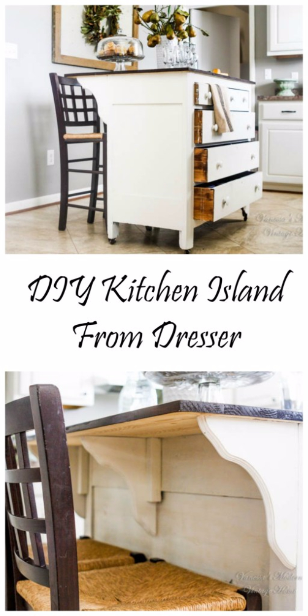 DIY Kitchen Makeover Ideas - DIY Kitchen Island From Dresser - Cheap Projects Projects You Can Make On A Budget - Cabinets, Counter Tops, Paint Tutorials, Islands and Faux Granite. Tutorials and Step by Step Instructions