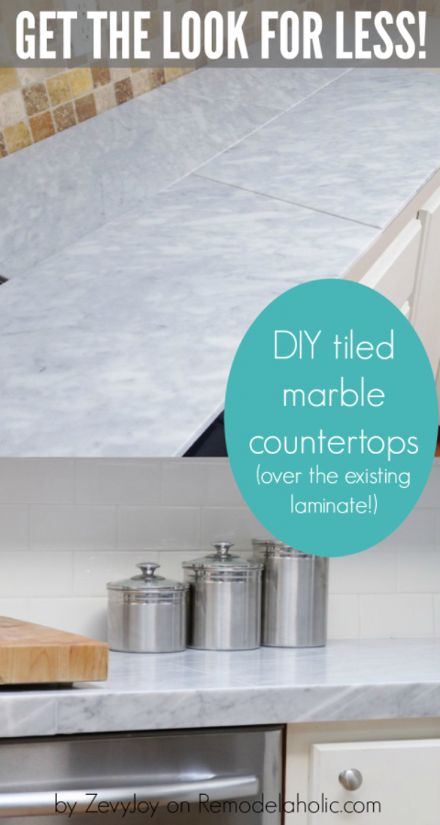 DIY Kitchen Makeover Ideas - DIY Marble Countertop Using Laminate - Cheap Projects Projects You Can Make On A Budget - Cabinets, Counter Tops, Paint Tutorials, Islands and Faux Granite. Tutorials and Step by Step Instructions http://diyjoy.com/diy-kitchen-makeovers
