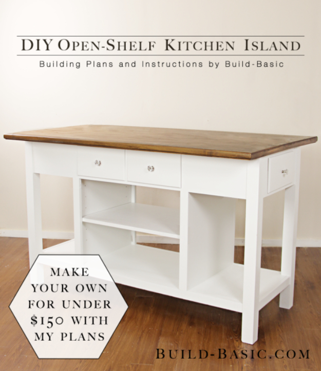DIY Kitchen Makeover Ideas - DIY Open Shelf Kitchen Island - Cheap Projects Projects You Can Make On A Budget - Cabinets, Counter Tops, Paint Tutorials, Islands and Faux Granite. Tutorials and Step by Step Instructions http://diyjoy.com/diy-kitchen-makeovers
