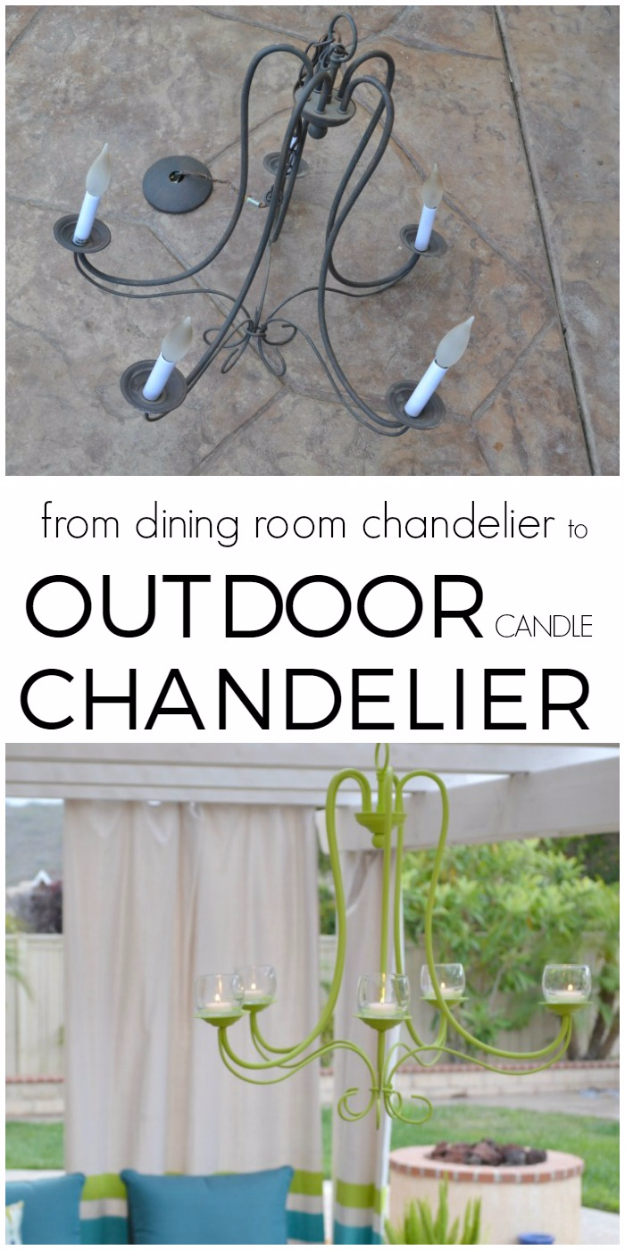 DIY Chandelier Ideas and Project Tutorials - DIY Outdoor Candle Chandelier - Easy Makeover Tips, Rustic Pipe, Crystal, Rustic, Mason Jar, Beads. Bedroom, Outdoor and Wedding Girls Room Lighting Ideas With Step by Step Instructions