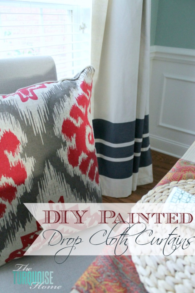 50 DIY Curtains and Drapery Ideas - DIY Painted Drop Cloth Curtains - Easy No Sew Ideas and Step by Step Tutorials for Drapes and Curtain Ideas - Cheap and Creative Projects for Bedroom, Living Room, Kitchen, Kids and Teen Rooms - Simple Draperies for Fabric, Made Out of Sheets, Blackout Curtains and Valances #sewing #diydecor #drapes #decoratingideas