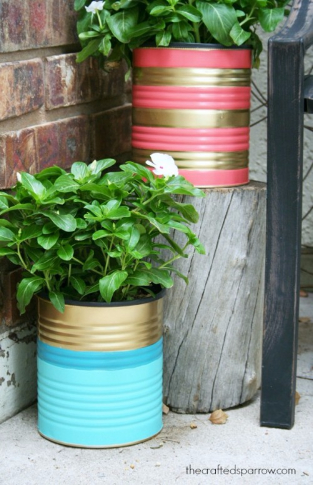 DIY Projects Made From Trash - DIY Painted Tin Can Planters - Cool Crafts and DIY Made from Upcycled Items You Don't Want To Throw Away. Home Decor, Gifts and Fun Ideas for Kids, Adults and Teens