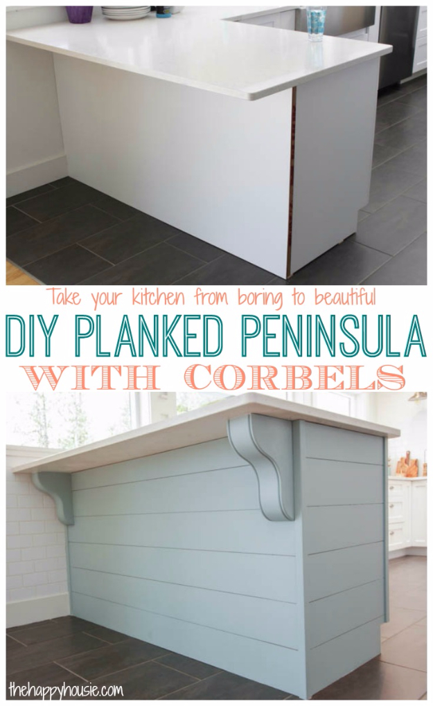DIY Kitchen Makeover Ideas - DIY Planked Peninsula With Corbels - Cheap Projects Projects You Can Make On A Budget - Cabinets, Counter Tops, Paint Tutorials, Islands and Faux Granite. Tutorials and Step by Step Instructions