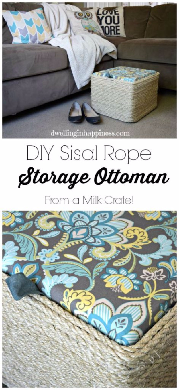 Upcycled Furniture Projects - DIY Sisal Rope Ottoman From Milk Crate - Repurposed Home Decor and Furniture You Can Make On a Budget. Easy Vintage and Rustic Looks for Bedroom, Bath, Kitchen and Living Room. #upcycled #diyideas #diyfurniture