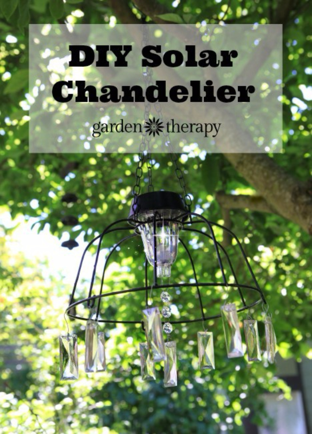 DIY Chandelier Ideas and Project Tutorials - DIY Solar Light Chandelier - Easy Makeover Tips, Rustic Pipe, Crystal, Rustic, Mason Jar, Beads. Bedroom, Outdoor and Wedding Girls Room Lighting Ideas With Step by Step Instructions