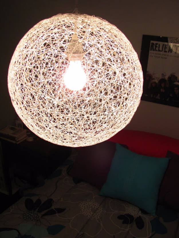 DIY Chandelier Ideas and Project Tutorials - DIY String Chandelier - Easy Makeover Tips, Rustic Pipe, Crystal, Rustic, Mason Jar, Beads. Bedroom, Outdoor and Wedding Girls Room Lighting Ideas With Step by Step Instructions