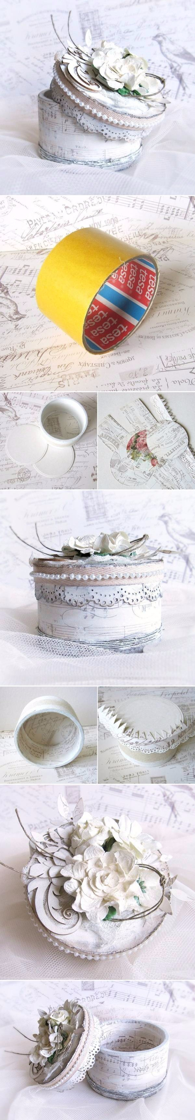 Shabby Chic Decor and Bedding Ideas - DIY Tape Roll Jewelry Box - Rustic and Romantic Vintage Bedroom, Living Room and Kitchen Country Cottage Furniture and Home Decor Ideas. Step by Step Tutorials and Instructions http://diyjoy.com/diy-shabby-chic-decor-bedding