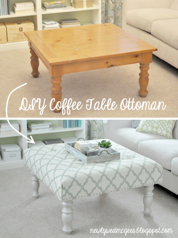 Upcycled Furniture Projects - DIY Upholstered Ottoman - Repurposed Home Decor and Furniture You Can Make On a Budget. Easy Vintage and Rustic Looks for Bedroom, Bath, Kitchen and Living Room. #upcycled #diyideas #diyfurniture