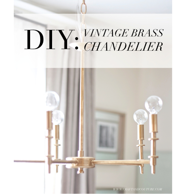 DIY Chandelier Ideas and Project Tutorials - DIY Vintage Brass Chandelier - Easy Makeover Tips, Rustic Pipe, Crystal, Rustic, Mason Jar, Beads. Bedroom, Outdoor and Wedding Girls Room Lighting Ideas With Step by Step Instructions
