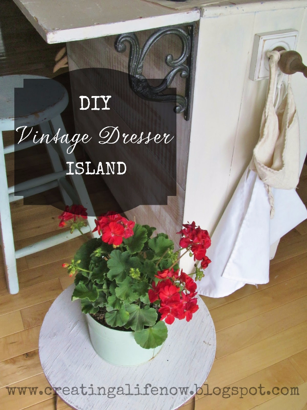 Upcycled Furniture Projects - DIY Vintage Dresser Island Tutorial - Repurposed Home Decor and Furniture You Can Make On a Budget. Easy Vintage and Rustic Looks for Bedroom, Bath, Kitchen and Living Room. #upcycled #diyideas #diyfurniture