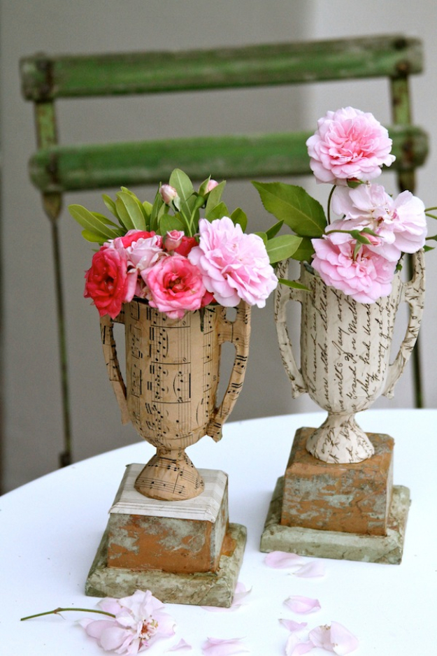 Shabby Chic Decor and Bedding Ideas - DIY Vintage Sheet Music And Book Page Vase From Plastic Trophies - Rustic and Romantic Vintage Bedroom, Living Room and Kitchen Country Cottage Furniture and Home Decor Ideas. Step by Step Tutorials and Instructions http://diyjoy.com/diy-shabby-chic-decor-bedding