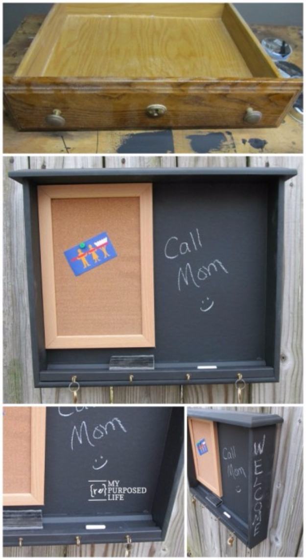 Upcycled Furniture Projects - Desk Drawer Repurposed Into Chalkboard - Repurposed Home Decor and Furniture You Can Make On a Budget. Easy Vintage and Rustic Looks for Bedroom, Bath, Kitchen and Living Room. #upcycled #diyideas #diyfurniture