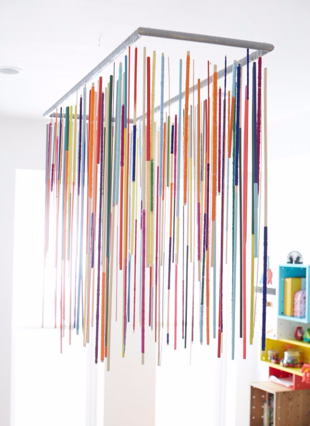DIY Chandelier Ideas and Project Tutorials - Dowel Rod Chandelier DIY - Easy Makeover Tips, Rustic Pipe, Crystal, Rustic, Mason Jar, Beads. Bedroom, Outdoor and Wedding Girls Room Lighting Ideas With Step by Step Instructions http://diyjoy.com/diy-chandelier-ideas