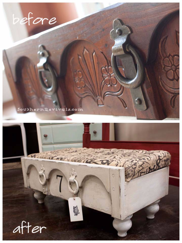 Upcycled Furniture Projects - Drawer Ottoman DIY - Repurposed Home Decor and Furniture You Can Make On a Budget. Easy Vintage and Rustic Looks for Bedroom, Bath, Kitchen and Living Room. #upcycled #diyideas #diyfurniture