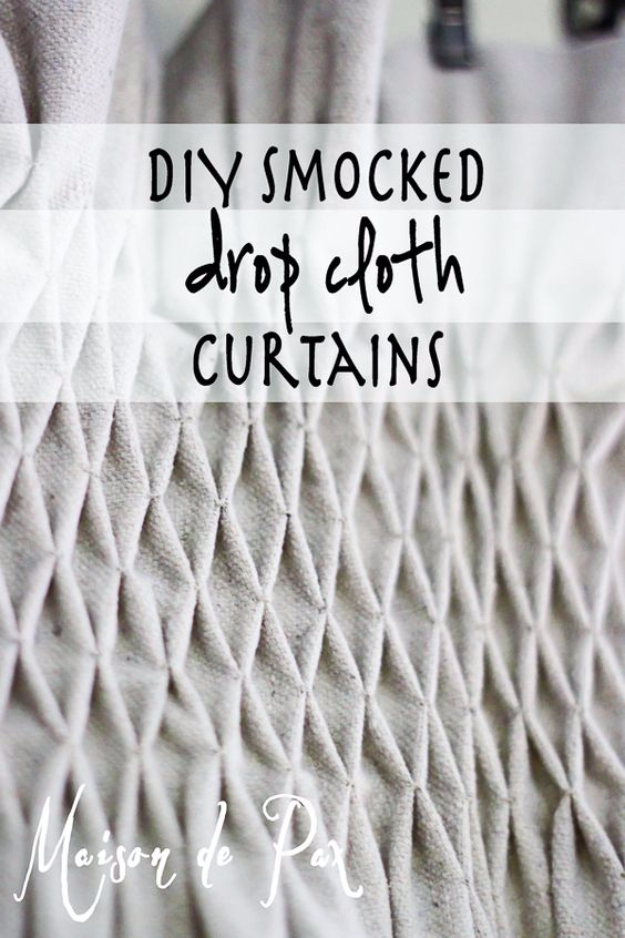 50 DIY Curtains and Drapery Ideas - Drop Cloth Smocked Curtains - Easy No Sew Ideas and Step by Step Tutorials for Drapes and Curtain Ideas - Cheap and Creative Projects for Bedroom, Living Room, Kitchen, Kids and Teen Rooms - Simple Draperies for Fabric, Made Out of Sheets, Blackout Curtains and Valances #sewing #diydecor #drapes #decoratingideas