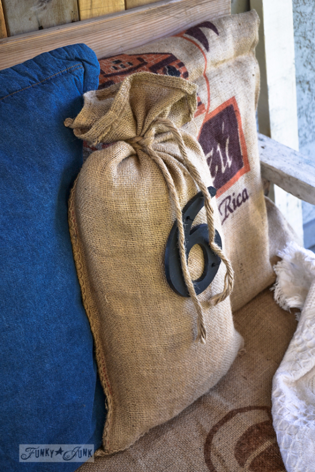 DIY Projects Made From Trash - Easy Burlap Sandbag Pillow - Cool Crafts and DIY Made from Upcycled Items You Don't Want To Throw Away. Home Decor, Gifts and Fun Ideas for Kids, Adults and Teens