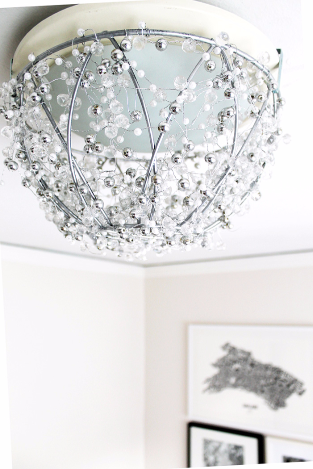 DIY Chandelier Ideas and Project Tutorials - Easy DIY Chandelier - Easy Makeover Tips, Rustic Pipe, Crystal, Rustic, Mason Jar, Beads. Bedroom, Outdoor and Wedding Girls Room Lighting Ideas With Step by Step Instructions