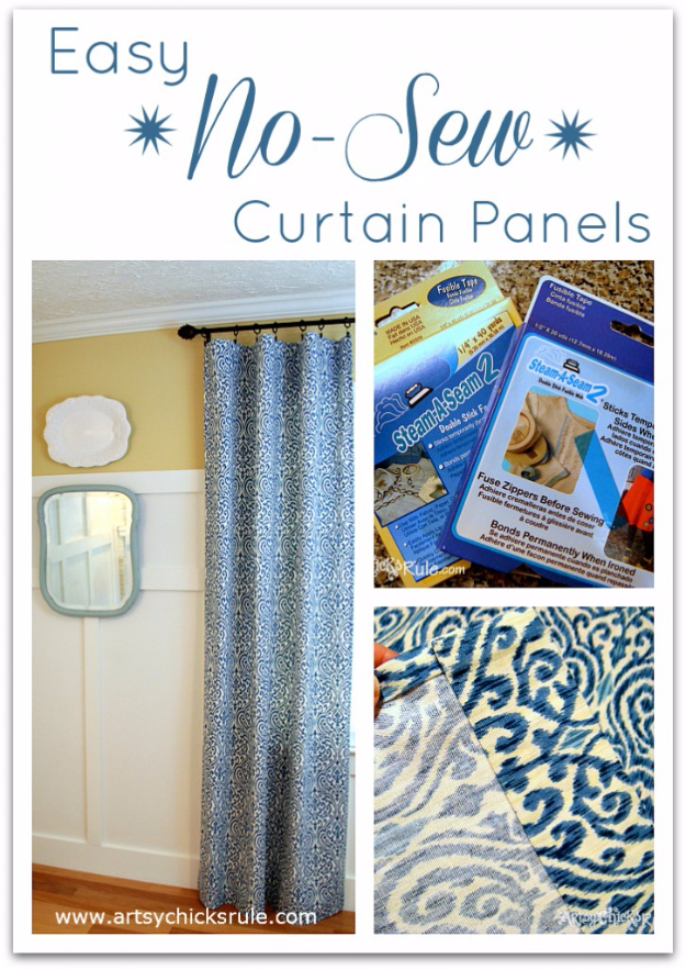 50 DIY Curtains and Drapery Ideas - Easy No Sew Curtain Panels - Easy No Sew Ideas and Step by Step Tutorials for Drapes and Curtain Ideas - Cheap and Creative Projects for Bedroom, Living Room, Kitchen, Kids and Teen Rooms - Simple Draperies for Fabric, Made Out of Sheets, Blackout Curtains and Valances #sewing #diydecor #drapes #decoratingideas