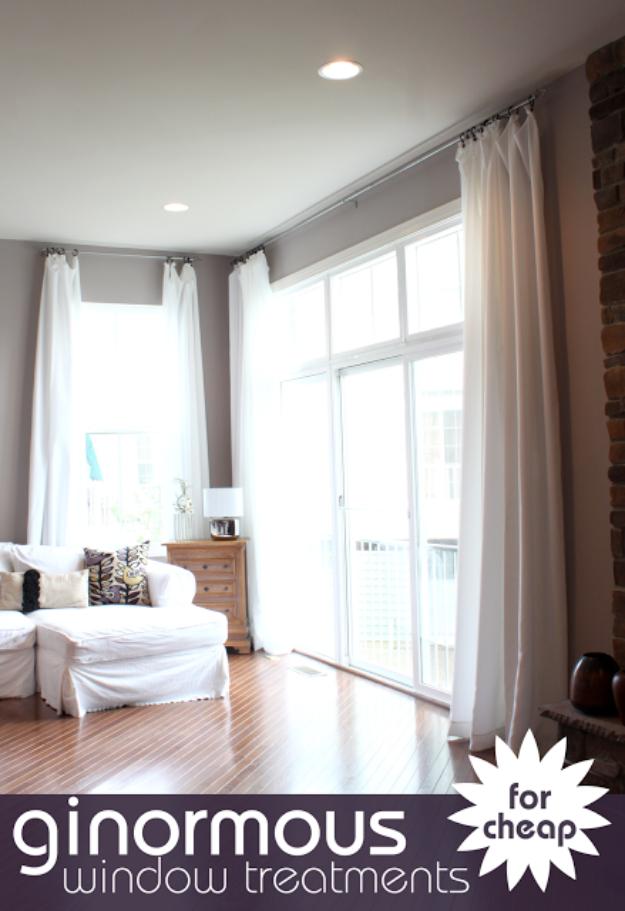 50 diy curtains and drapery ideas for Diy curtain ideas for living room
