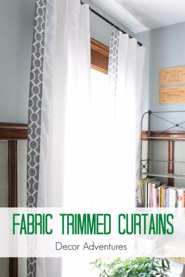 50 DIY Curtains and Drapery Ideas - Fabric Trimmed Curtains - Easy No Sew Ideas and Step by Step Tutorials for Drapes and Curtain Ideas - Cheap and Creative Projects for Bedroom, Living Room, Kitchen, Kids and Teen Rooms - Simple Draperies for Fabric, Made Out of Sheets, Blackout Curtains and Valances #sewing #diydecor #drapes #decoratingideas