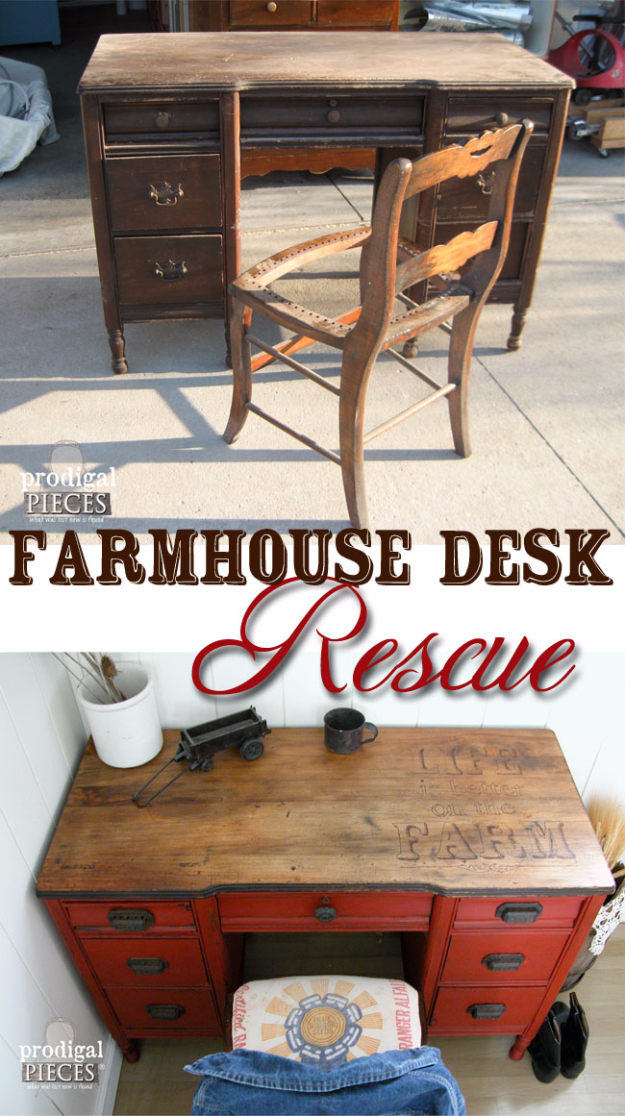 DIY Furniture Refinishing Tips - Farmhouse Desk Rescue - Creative Ways to Redo Furniture With Paint and DIY Project Techniques - Awesome Dressers, Kitchen Cabinets, Tables and Beds - Rustic and Distressed Looks Made Easy With Step by Step Tutorials - How To Make Creative Home Decor On A Budget