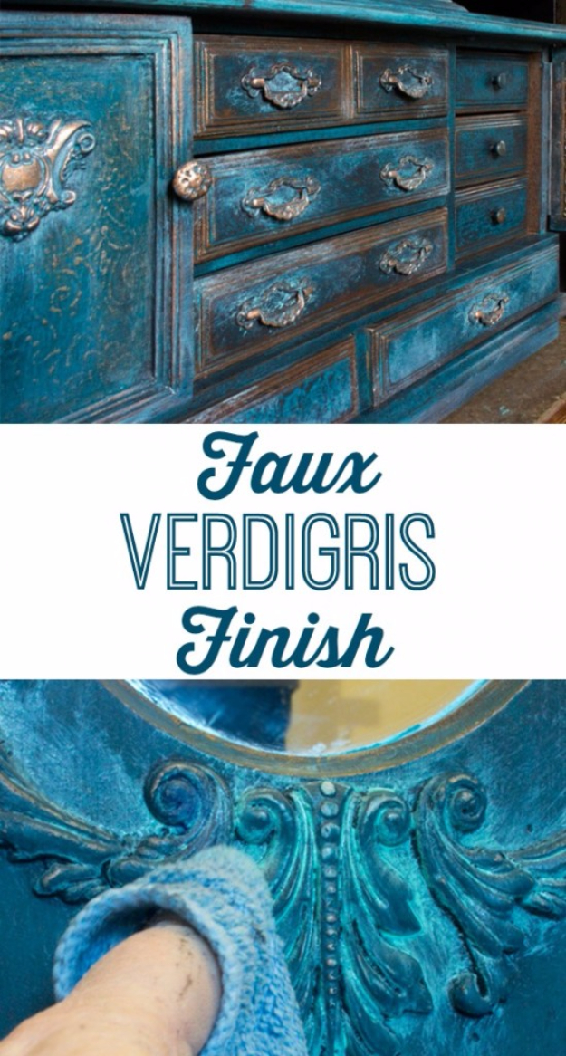 32 DIY Paint Techniques and Recipes - Faux Verdigris Finish - Cool Painting Ideas for Walls and Furniture - Awesome Tutorials for Stencil Projects and Easy Step By Step Tutorials for Painting Beautiful Backgrounds and Patterns. Modern, Vintage, Distressed and Classic Looks for Home, Living Room, Bedroom and More