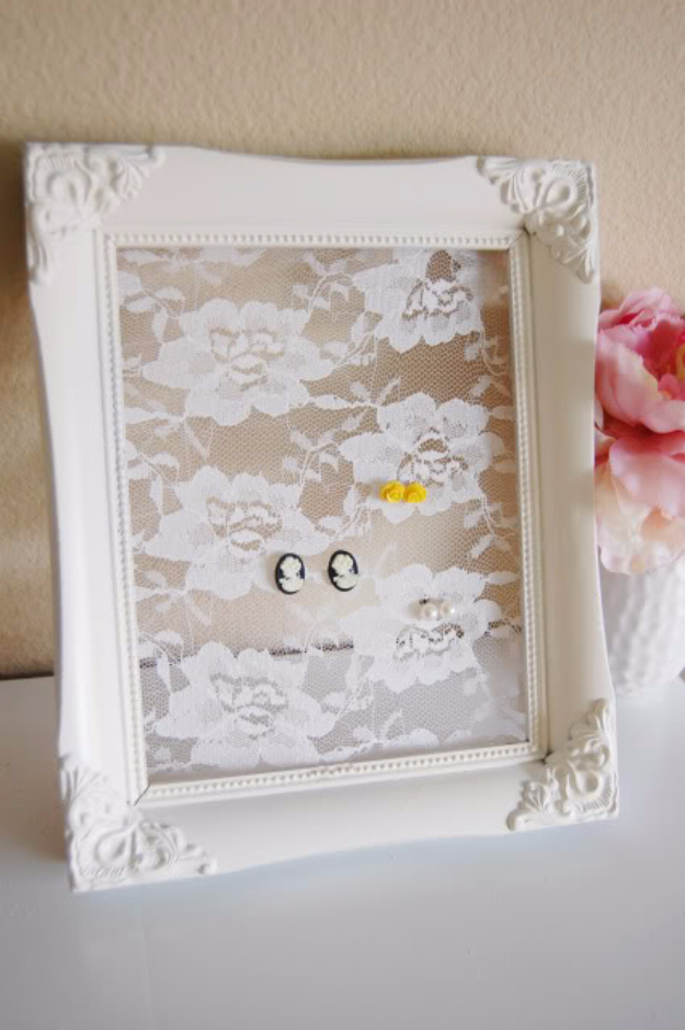 Shabby Chic Decor and Bedding Ideas - Framed Lace Earring Holder - Rustic and Romantic Vintage Bedroom, Living Room and Kitchen Country Cottage Furniture and Home Decor Ideas. Step by Step Tutorials and Instructions http://diyjoy.com/diy-shabby-chic-decor-bedding