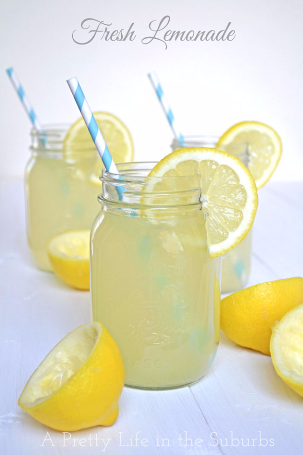 31 Clever Ways To Serve Drinks In Jars - Fresh Real Lemonade - Fun and Creative Way to Serve Soda, Tea, Cocktails and Party Drinks. Mason Jar Recipes and More Easy, Fun Ideas