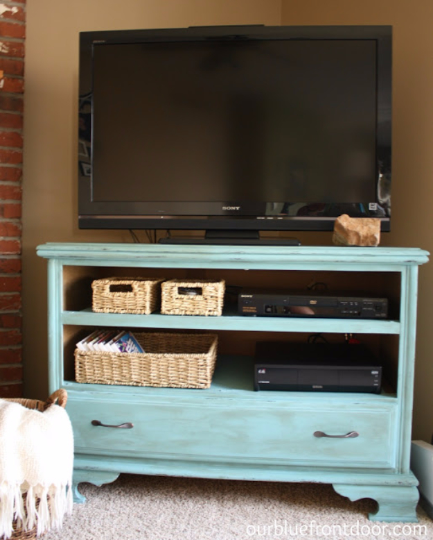 Upcycled Furniture Projects - Garage Sale Dresser Turned TV Stand - Repurposed Home Decor and Furniture You Can Make On a Budget. Easy Vintage and Rustic Looks for Bedroom, Bath, Kitchen and Living Room. #upcycled #diyideas #diyfurniture