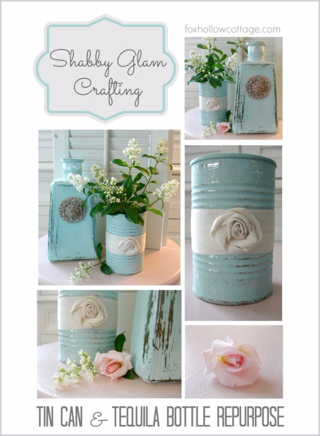 Shabby Chic Decor and Bedding Ideas - Glass Bottle and Tin Can Repurpose - Rustic and Romantic Vintage Bedroom, Living Room and Kitchen Country Cottage Furniture and Home Decor Ideas. Step by Step Tutorials and Instructions http://diyjoy.com/diy-shabby-chic-decor-bedding