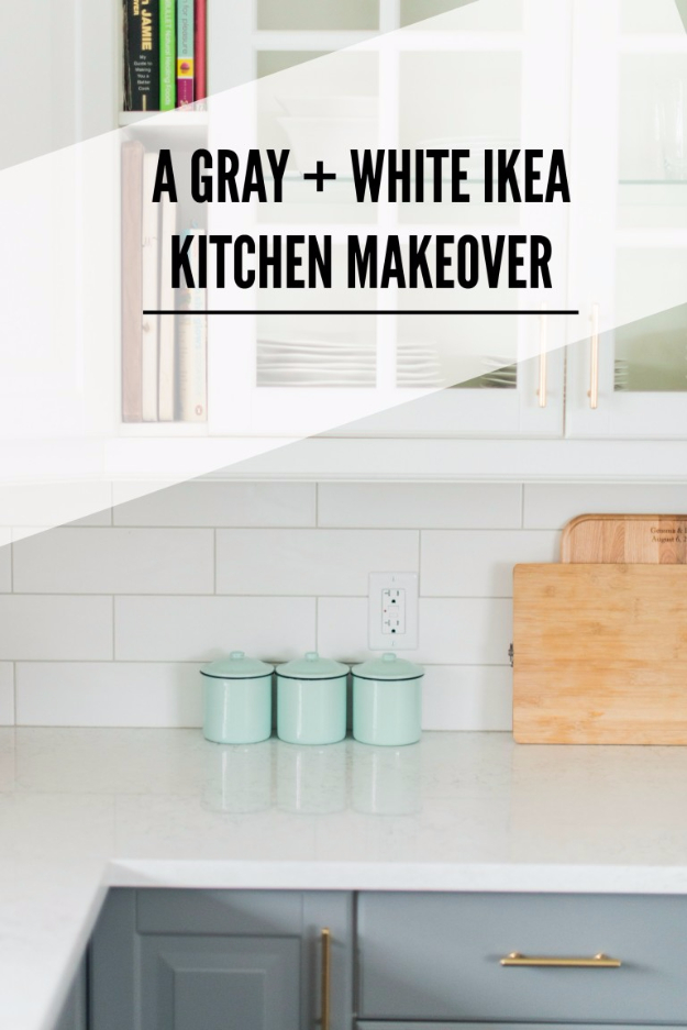 DIY Kitchen Makeover Ideas - Gray And White Kitchen Makeover - Cheap Projects Projects You Can Make On A Budget - Cabinets, Counter Tops, Paint Tutorials, Islands and Faux Granite. Tutorials and Step by Step Instructions