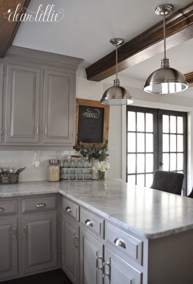 DIY Kitchen Makeover Ideas - Gray Themed Kitchen Makeover - Cheap Projects Projects You Can Make On A Budget - Cabinets, Counter Tops, Paint Tutorials, Islands and Faux Granite. Tutorials and Step by Step Instructions
