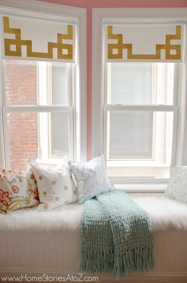 50 DIY Curtains and Drapery Ideas - Greek Key Shades With Duct Tape - Easy No Sew Ideas and Step by Step Tutorials for Drapes and Curtain Ideas - Cheap and Creative Projects for Bedroom, Living Room, Kitchen, Kids and Teen Rooms - Simple Draperies for Fabric, Made Out of Sheets, Blackout Curtains and Valances #sewing #diydecor #drapes #decoratingideas