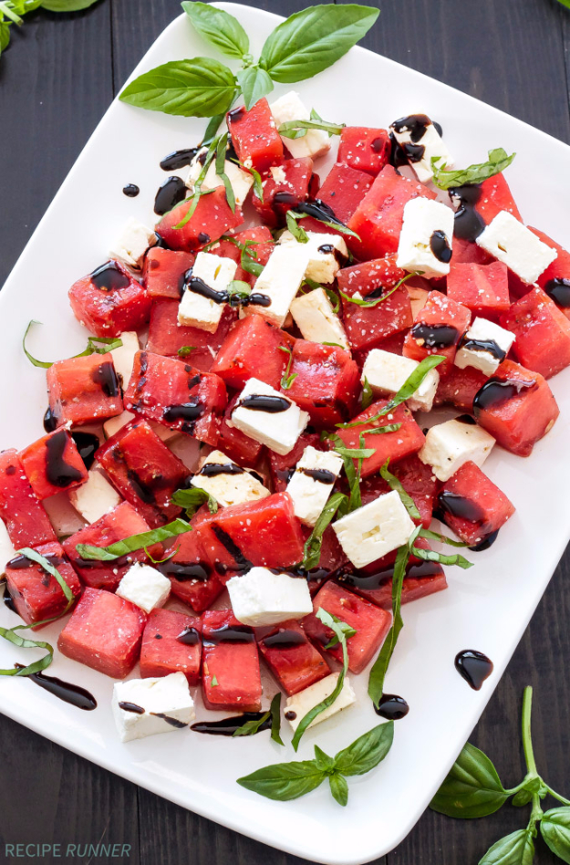 Best Recipes for a Backyard Barbecue - Grilled Watermelon Feta And Basil Salad - Best Cheap, Easy and Quick Recipes Ideas for Awesome Cookouts. Outdoor BBQ and Party Foods You Can Make for A Crowd http://diyjoy.com/best-bbq-recipes