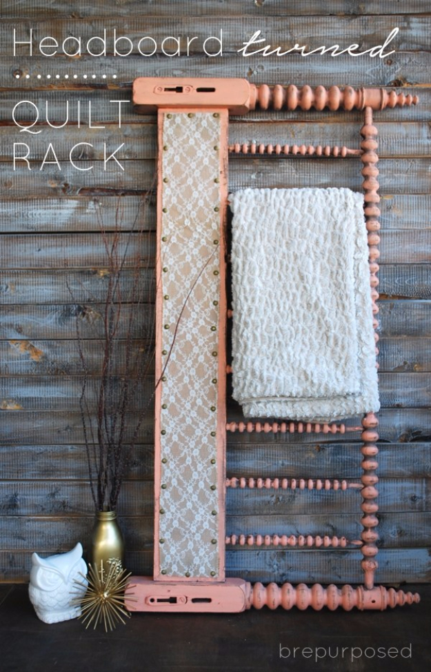 Upcycled Furniture Projects - Headboard Turned Quilt Rack - Repurposed Home Decor and Furniture You Can Make On a Budget. Easy Vintage and Rustic Looks for Bedroom, Bath, Kitchen and Living Room. #upcycled #diyideas #diyfurniture