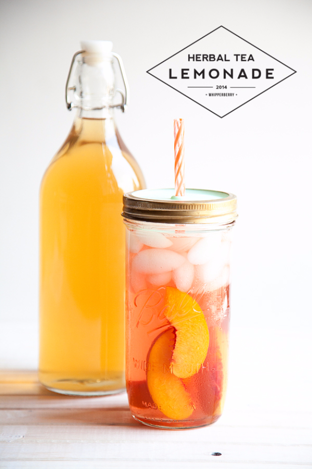 31 Clever Ways To Serve Drinks In Jars - Herbal Tea Lemonade - Fun and Creative Way to Serve Soda, Tea, Cocktails and Party Drinks. Mason Jar Recipes and More Easy, Fun Ideas