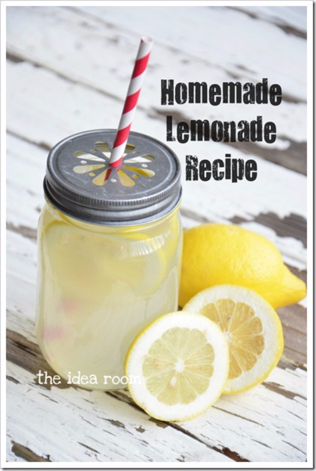 31 Clever Ways To Serve Drinks In Jars - Homemade Lemonade Recipe - Fun and Creative Way to Serve Soda, Tea, Cocktails and Party Drinks. Mason Jar Recipes and More Easy, Fun Ideas