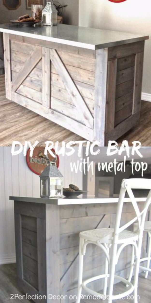 DIY Kitchen Makeover Ideas - Ikea Hack Rustic Bar Galvanized Metal Top - Cheap Projects Projects You Can Make On A Budget - Cabinets, Counter Tops, Paint Tutorials, Islands and Faux Granite. Tutorials and Step by Step Instructions
