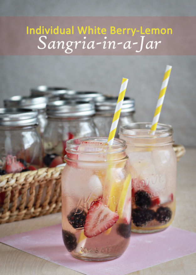 31 Clever Ways To Serve Drinks In Jars - Individual White Berry Lemon Sangrias - Fun and Creative Way to Serve Soda, Tea, Cocktails and Party Drinks. Mason Jar Recipes and More Easy, Fun Ideas