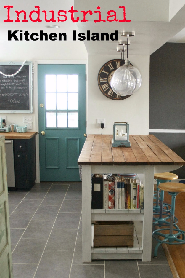 DIY Kitchen Makeover Ideas - Industrial Look Kitchen Island - Cheap Projects Projects You Can Make On A Budget - Cabinets, Counter Tops, Paint Tutorials, Islands and Faux Granite. Tutorials and Step by Step Instructions http://diyjoy.com/diy-kitchen-makeovers
