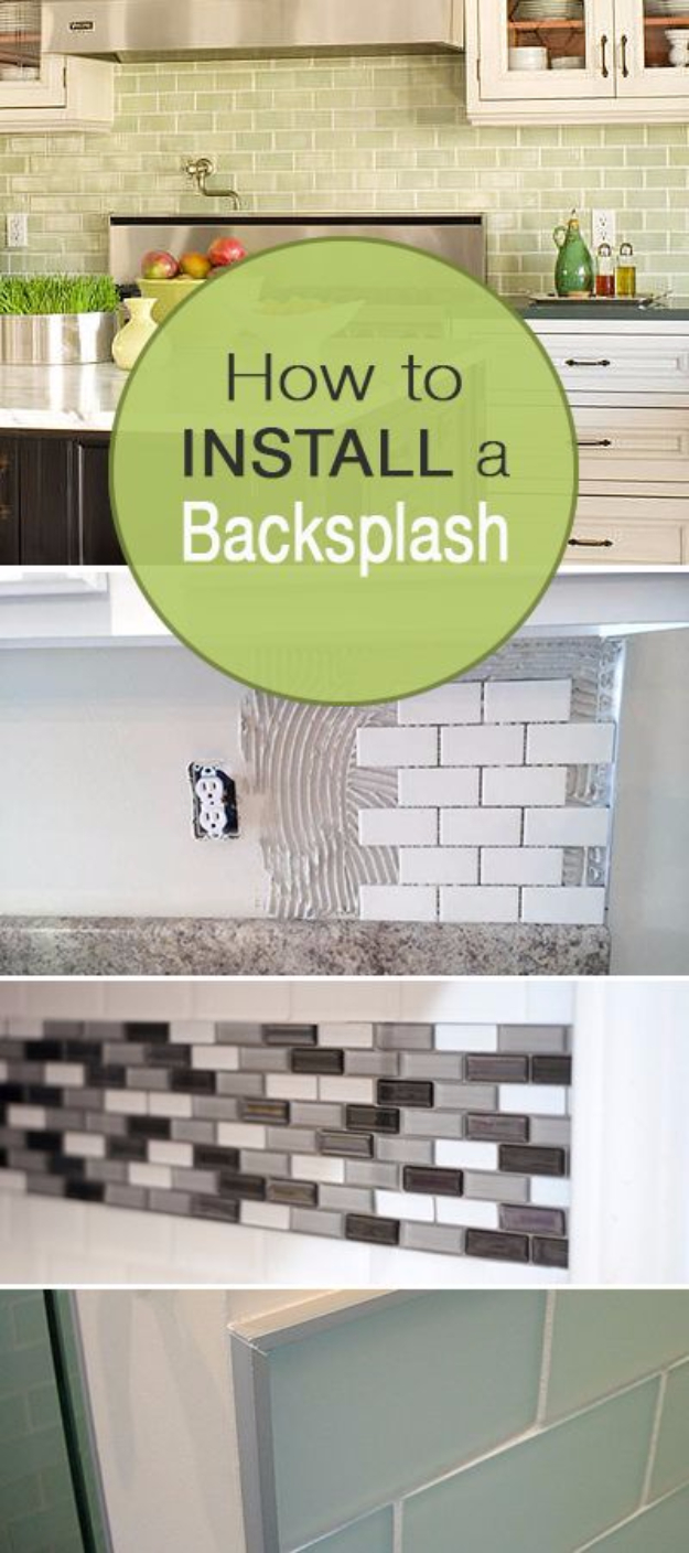 DIY Kitchen Makeover Ideas - Install A Backsplash - Cheap Projects Projects You Can Make On A Budget - Cabinets, Counter Tops, Paint Tutorials, Islands and Faux Granite. Tutorials and Step by Step Instructions