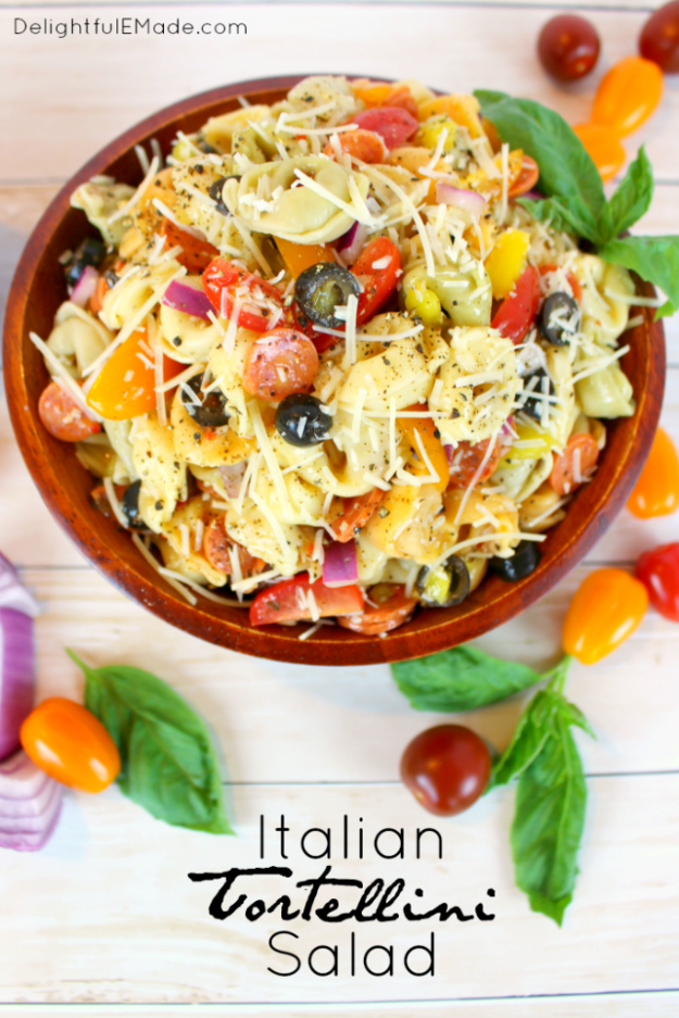 Best Recipes for a Backyard Barbecue - Italian Tortellini Salad - Best Cheap, Easy and Quick Recipes Ideas for Awesome Cookouts. Outdoor BBQ and Party Foods You Can Make for A Crowd http://diyjoy.com/best-bbq-recipes