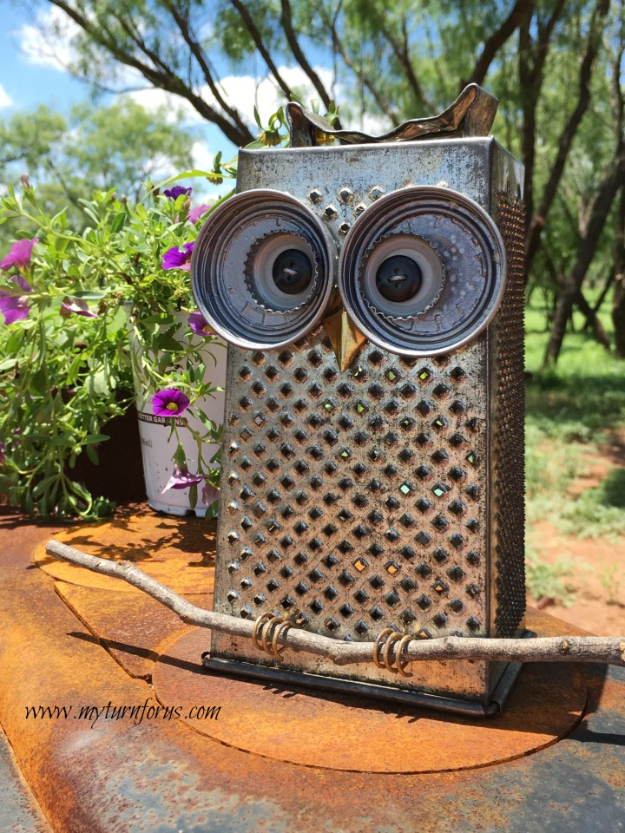 DIY Projects Made From Trash - Kitchen Grater Owl - Cool Crafts and DIY Made from Upcycled Items You Don't Want To Throw Away. Home Decor, Gifts and Fun Ideas for Kids, Adults and Teens