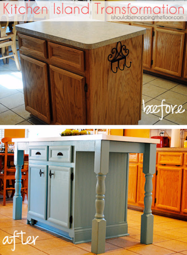 DIY Kitchen Makeover Ideas - Kitchen Island Transformation - Cheap Projects Projects You Can Make On A Budget - Cabinets, Counter Tops, Paint Tutorials, Islands and Faux Granite. Tutorials and Step by Step Instructions http://diyjoy.com/diy-kitchen-makeovers