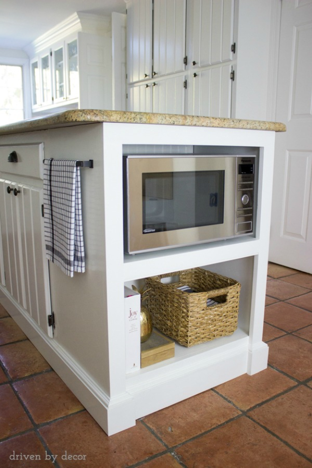 DIY Kitchen Makeover Ideas - Kitchen Island With Built In Microwave Storage Shelf - Cheap Projects Projects You Can Make On A Budget - Cabinets, Counter Tops, Paint Tutorials, Islands and Faux Granite. Tutorials and Step by Step Instructions http://diyjoy.com/diy-kitchen-makeovers