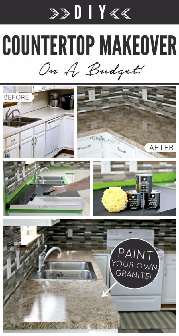 DIY Kitchen Makeover Ideas - Kitchen Remodel With Granite - Cheap Projects Projects You Can Make On A Budget - Cabinets, Counter Tops, Paint Tutorials, Islands and Faux Granite. Tutorials and Step by Step Instructions