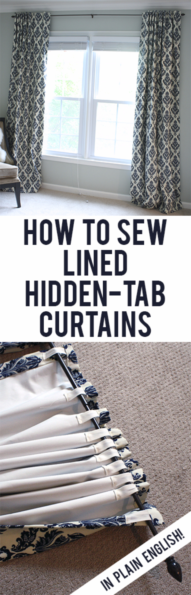 50 DIY Curtains and Drapery Ideas - Lined Back Tab Curtains - Easy No Sew Ideas and Step by Step Tutorials for Drapes and Curtain Ideas - Cheap and Creative Projects for Bedroom, Living Room, Kitchen, Kids and Teen Rooms - Simple Draperies for Fabric, Made Out of Sheets, Blackout Curtains and Valances #sewing #diydecor #drapes #decoratingideas