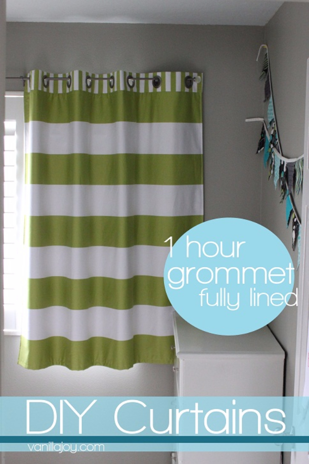 50 DIY Curtains and Drapery Ideas - Lined Grommet Top Curtain Tutorial - Easy No Sew Ideas and Step by Step Tutorials for Drapes and Curtain Ideas - Cheap and Creative Projects for Bedroom, Living Room, Kitchen, Kids and Teen Rooms - Simple Draperies for Fabric, Made Out of Sheets, Blackout Curtains and Valances #sewing #diydecor #drapes #decoratingideas
