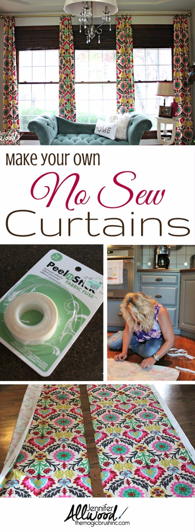 50 DIY Curtains and Drapery Ideas - Make Your Own No Sew Office Curtains - Easy No Sew Ideas and Step by Step Tutorials for Drapes and Curtain Ideas - Cheap and Creative Projects for Bedroom, Living Room, Kitchen, Kids and Teen Rooms - Simple Draperies for Fabric, Made Out of Sheets, Blackout Curtains and Valances #sewing #diydecor #drapes #decoratingideas